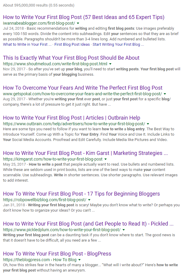 google search results for writing first blog post