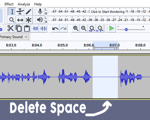 Editing the audio with Audacity